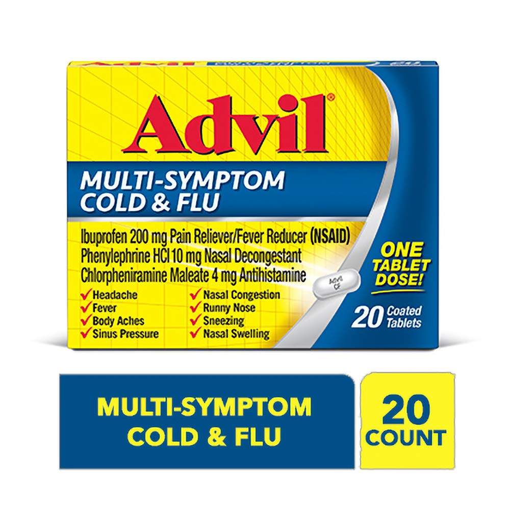 Advil Multi-Symptom Cold & Flu, 200mg Ibuprofen, Pain & Fever Reducer, (20Count), Nasal Decongestant, Fast Relief for Nasal Congestion, Headache, Runny Nose, Sneezing, Body Aches & Sinus Pressu by Advil Cold & Sinus