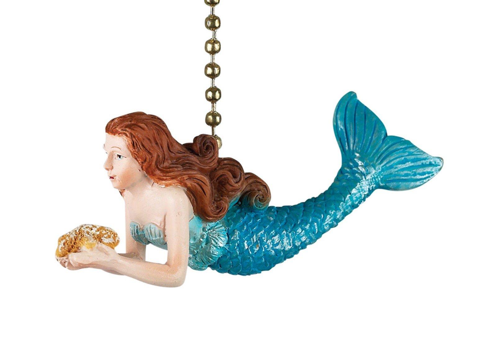 Ocean Mermaid Decorative Ceiling Fan Light Dimensional Pull Clementine Design