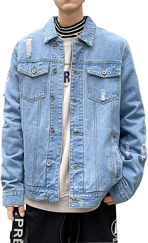 M-2XL Gジャン デニムジャケット メンズ 春秋 大きいサイズ 折り襟 ジージャン 防風 防寒 ストレッチ ゆったり ダメージ加工 カッコイイ 合わせやすい 通勤 通学 お出かけ 無地 ネイビー ブルー