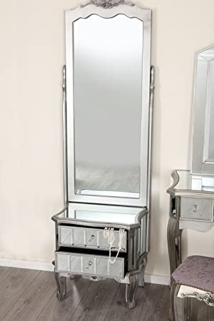 Mirror Silver Trim Bedroom Furniture Bedside Table Console Mirrored Matching  (Sophia Cheval Mirror With Drawer