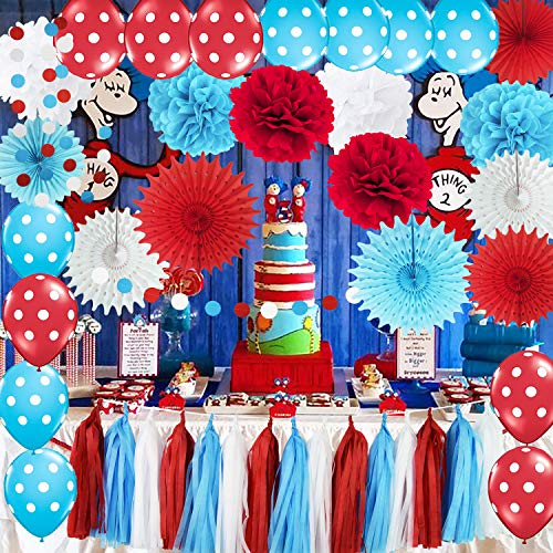 Dr Seuss Centerpieces (Dr Seuss Cat in The Hat Party/Bridal Shower Decorations Turquoise White Red Tissue Pom Pom Polka Dot Ballons Tissue Paper Fans for Dr Suess Decorations Baby Shower Decorations/Birthday)
