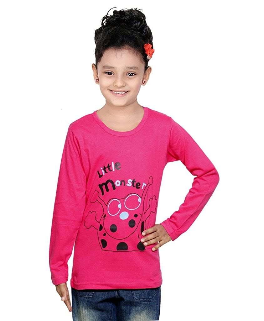 Amazon.com: Indistar Big Girls Cotton Full Sleeves Printed Pullover T-Shirt, Tops, Tees_Pink_8-9 Years: Clothing