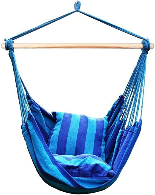 Amazon Com Blissun Hanging Hammock Chair Hanging Swing Chair With Two Cushions 34 Inch Wide Seat Blue Green Stripes Seaside Stripe Garden Outdoor