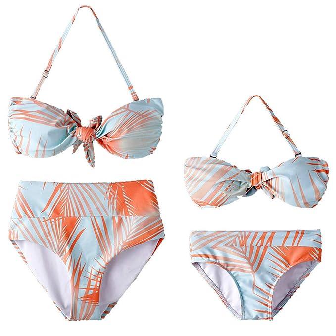 03233ff6c403 FRAUIT Completo Bikini per Mamma e Figlia Bikini Donna Mare Push Up Vita  Alta Costumi da Bagno Bambina Due Pezzi Fiori Bikini Due Pezzi Mare  Spiaggia Push ...