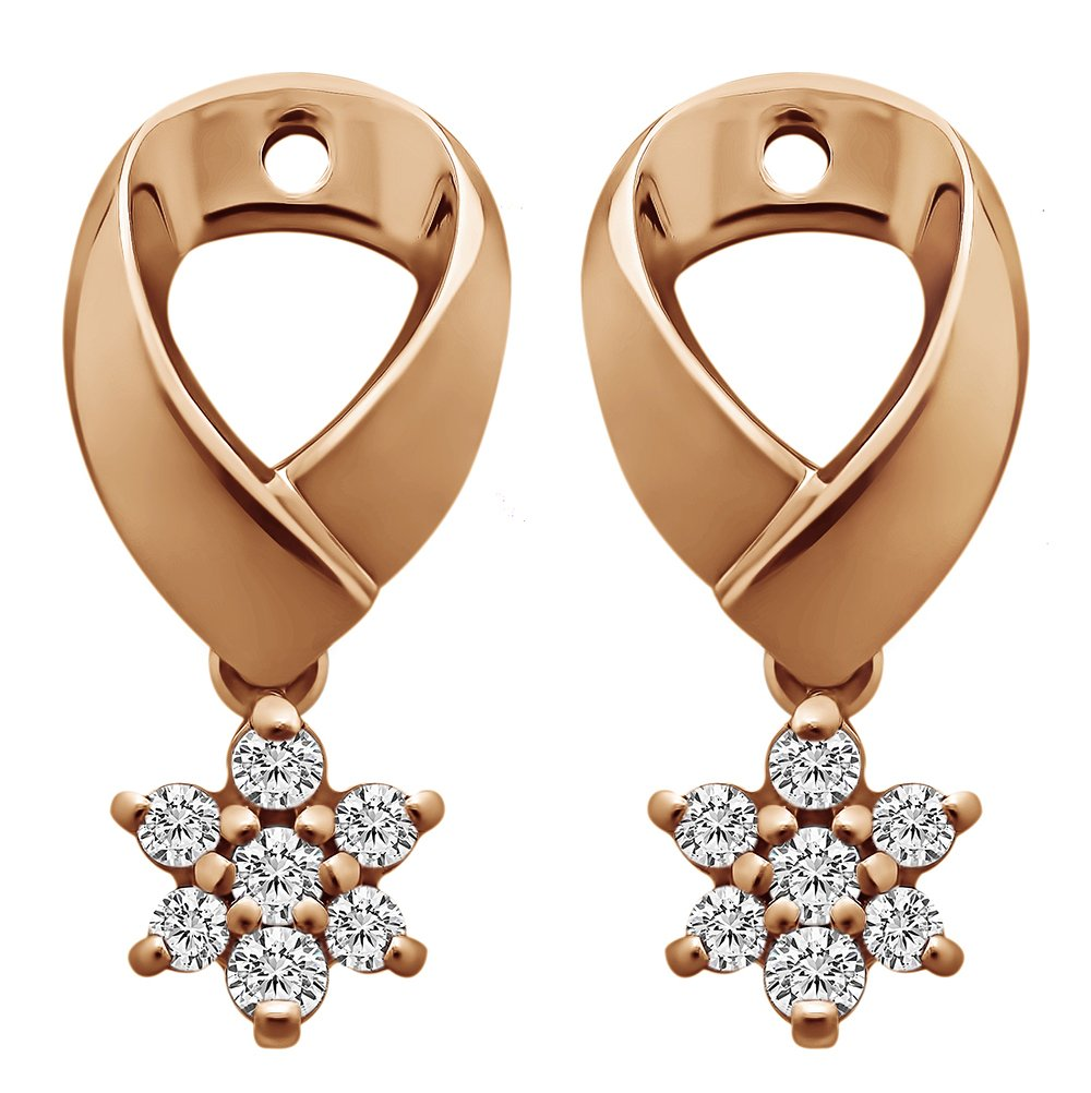 1/5 ct. Charles Colvard Created Moissanite Moissanite Flower Dangle Earring Jackets in Rose Gold Plated Sterling Silver (0.18 ct. twt.)