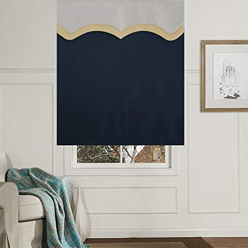 Artdix Roman Shades Blinds Window Shades – Navy Blue 63 W x 72L Inches Lined Blackout Faux Linen Thermal Fabric Custom Roman Shades for Windows, Doors, French Doors, Kitchen, Including Valance