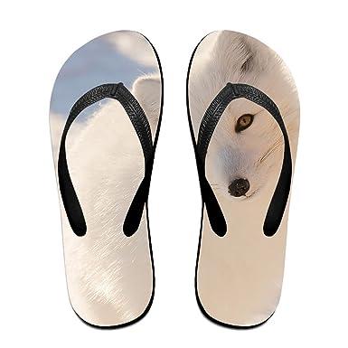 a3461ead9122 Amazon.com  Couple Flip Flops Fox Snow White Print Chic Sandals Slipper  Rubber Non-Slip Beach Thong Slippers  Clothing