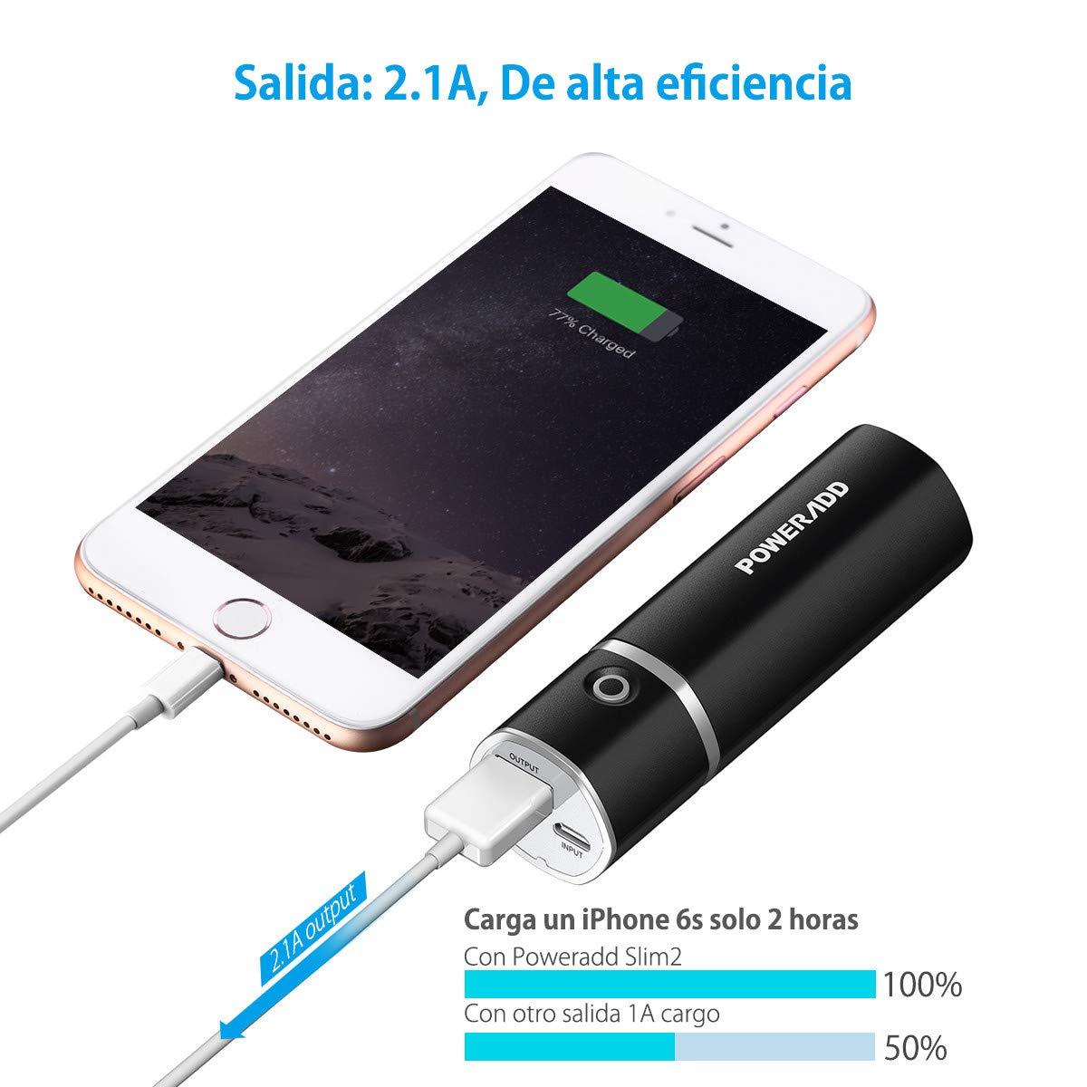 POWERADD Slim2 de 5000mAh Power Bank Cargador Móvil Portátil Batería Externa para iPhone, iPad Samsung Huawei Xiaomi Dispositivos Android y Más: Amazon.es: ...