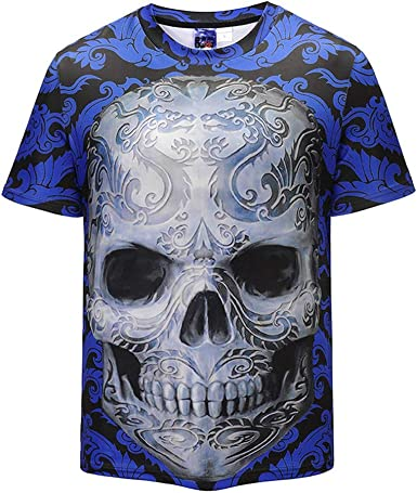 KeeMou Camiseta 3D con Estampado De Calaveras para Hombres ...