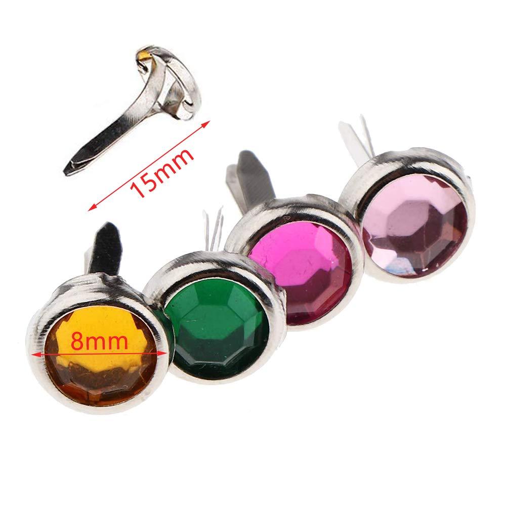 MUCHEN SHOP Mini Attaches Parisiennes,100 Multicolores Pack Mini Brad en M/étal Brads Scrapbooking Ronds pour Artisanat en Papier