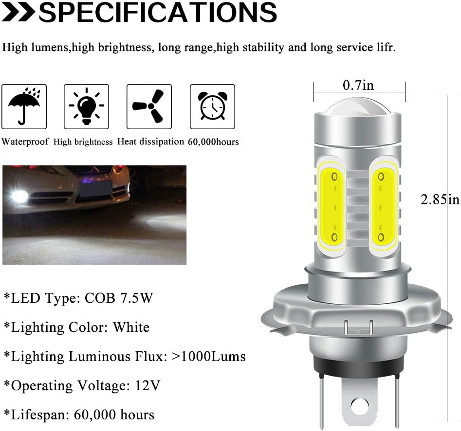 KaiDengZhe 2pcs Cool Xenon White 6500K H4 LED Bulbs for Fog Lights 7.5W COB Fog Lamp Daytime Running Light Driving DRL Lights Motorcycle headlight 12V