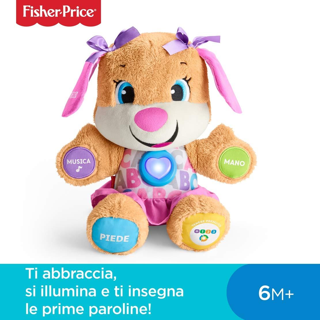 Fisher Price FPM51 Giocattolo per Bambini di 6 Mesi Cagnolino Smart Stages Ridi e Impara Morbido Peluche Educativo con Musica e Canzoni