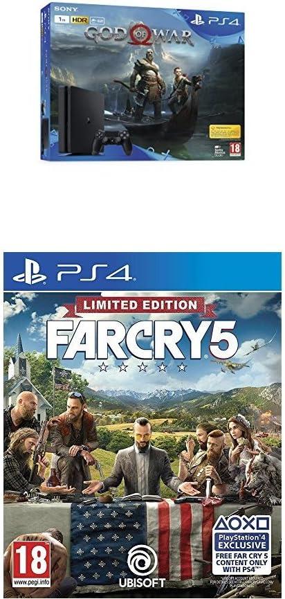 PlayStation 4 (PS4) - Consola de 1 TB + God of War + Far Cry 5 - Edición Limitada (Edición Exclusiva Amazon): Amazon.es: Videojuegos