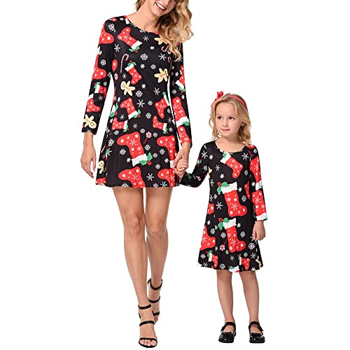 Womens Baby Girl Long Sleeve A Line Christmas Dress Holiday Festival Prints Family Matching Outfits
