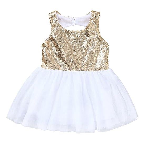 942a0628f3b6 Huhu833 Baby Kleid, Kleinkind Baby Mädchen Kinder Pailletten Kleid Kleidung  Tutu Sommerkleid Casual Kleider (