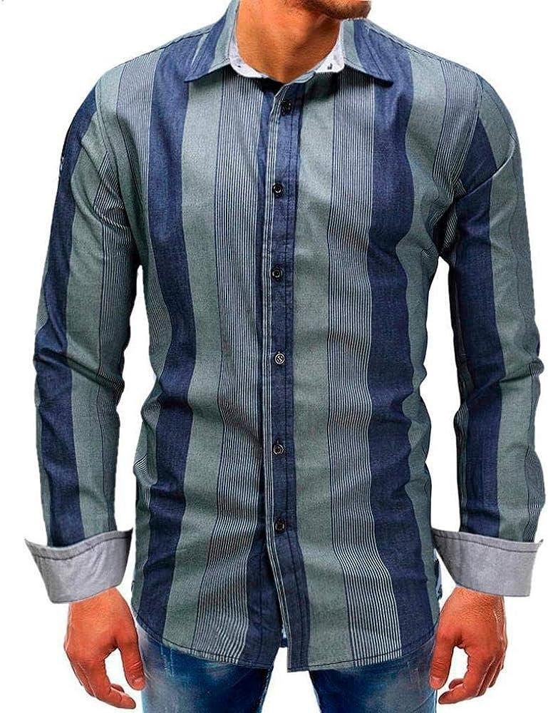 Betrothales Hombres Rayas Shirts Camisa Hombre Manga Larga para Camisetas Hombr: Amazon.es: Ropa y accesorios