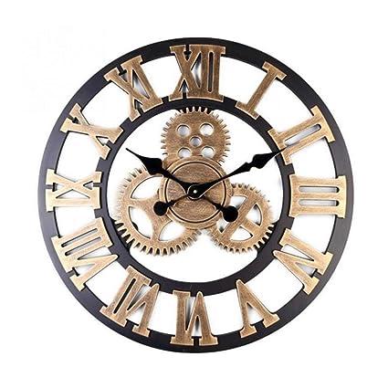Amazon.com: BEAMNOVA Wall Clock Analog Non Ticking Gear Clock Rustic Retro Decorative Rustic Vintage Look Timer (Bronze Roman, 23 inch): Home & Kitchen