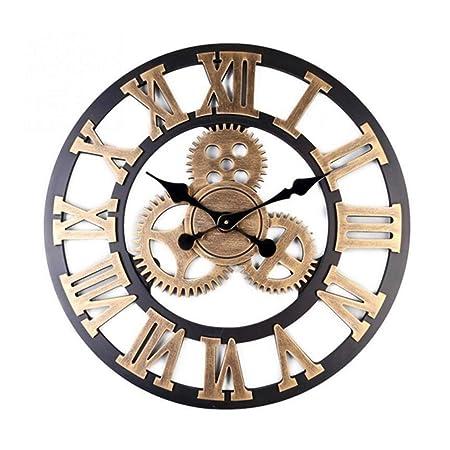 BEAMNOVA Wall Clock Analog Non Ticking Gear Clock Rustic Retro Decorative Rustic Vintage Look Timer Bronze Roman, 23 inch