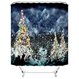 CHARMHOME Christmas Tree Outdoor Home Decor Polyester Fabric Mildew Proof Waterproof Cloth Shower Room Decor Shower Curtains 60x72