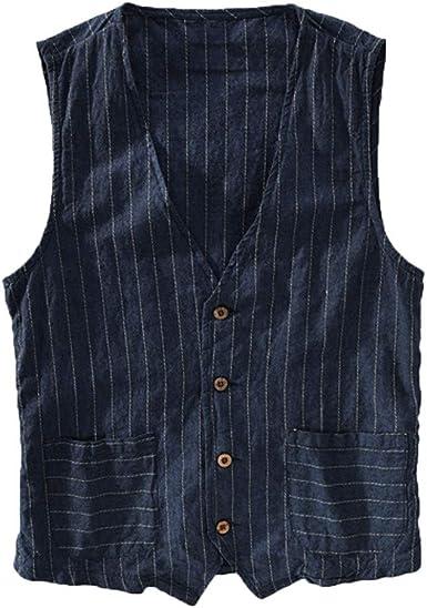 TUDUZ Camisetas Hombre Camiseta Sin Mangas de Rayas Salvajes Chaqueta Camisa de Lino: Amazon.es: Ropa y accesorios