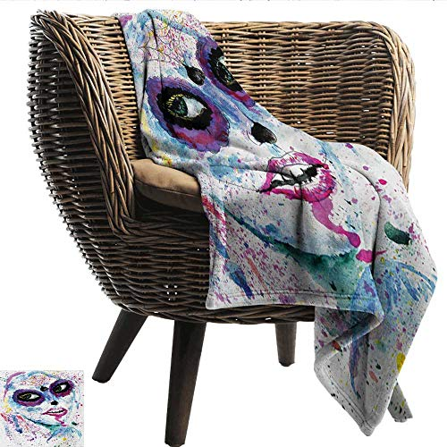 smllmoonDecor Blanket Sheets Girls Grunge Halloween Lady with Sugar Skull Make Up Creepy Dead Face Gothic Woman Artsy Lightweight Super Soft Comfort W54 xL84 Sofa,Picnic,Camping,Beach,Everyday use]()
