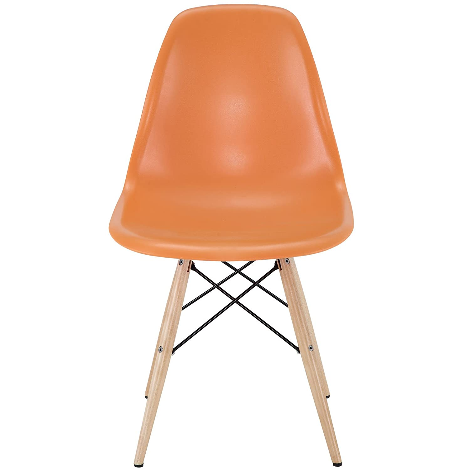 Amazon Modway Plastic Side Chair in Orange with Wooden Base