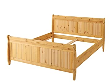Loft24 Bett 140x200 Cm Landhaus Doppelbett Bettgestell Bettrahmen Holzbett  Kiefer Massivholz Natur Gebeizt Geölt
