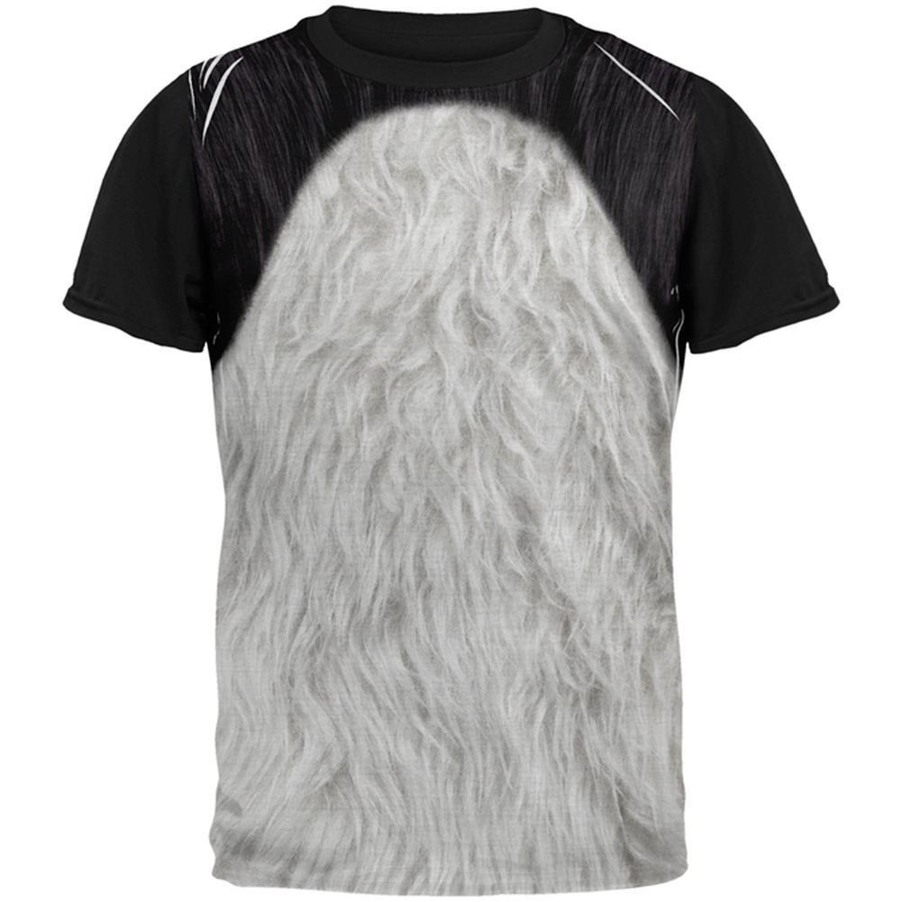 Halloween Panda Bear Costume All Over Mens Black Back T Shirt