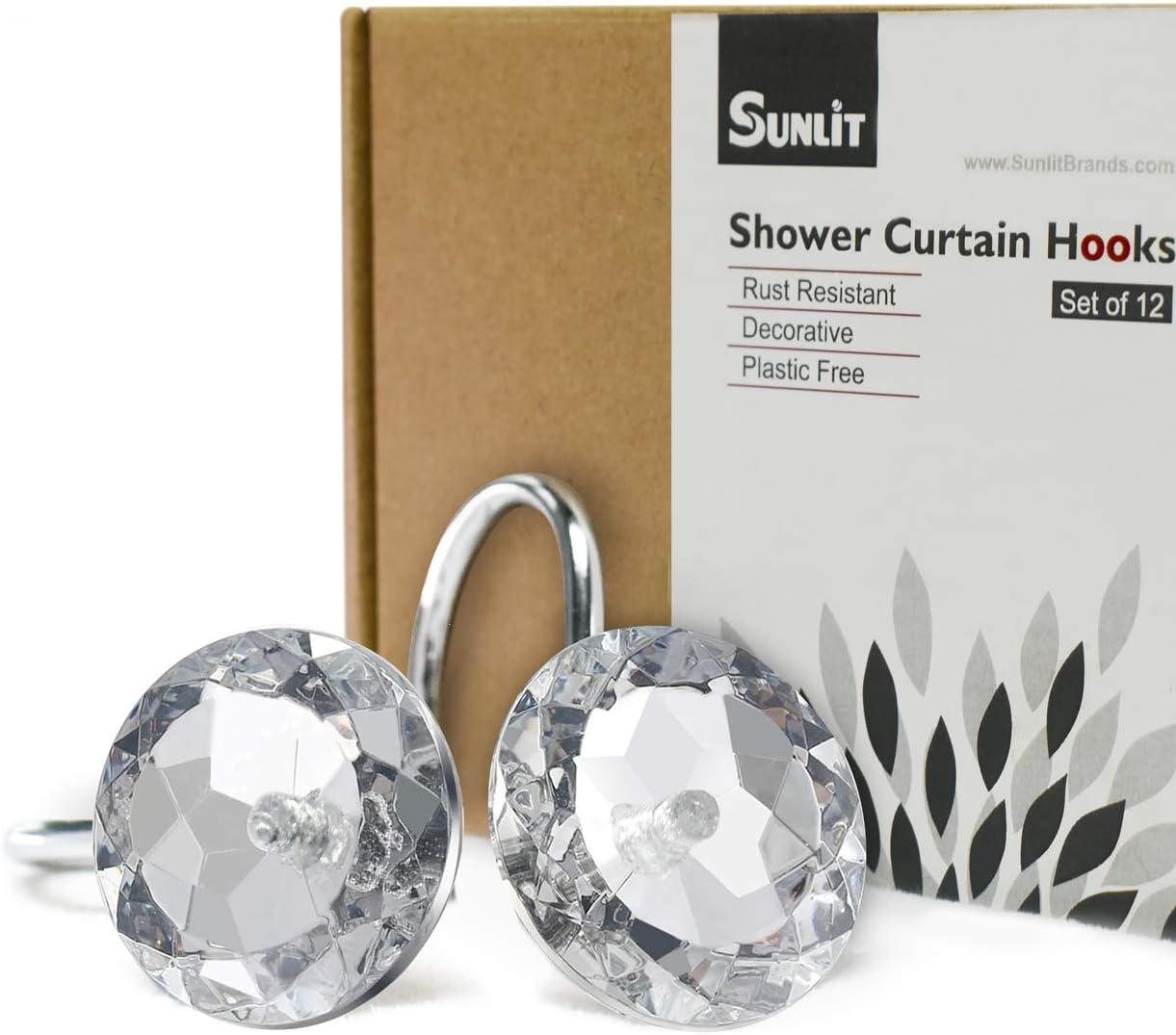 Transparent Sunlit 12x Crystal Diamond Bling Acrylic Shower Curtain Hooks Shower Rings Round Decorative Rhinestones Rolling Bathroom Bath Set