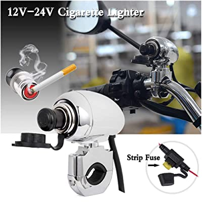 "FATExpress 1"" 7/8"" 12 V-24V Metal Handlebar Chrome Waterproof Charger Cigarette GPS Lighter Motorcycle ATV Dirt Bike Harley Dyna Street Fat Bob Super Wide Glide Low Rider Forty Eight Road King: Home Improvement"