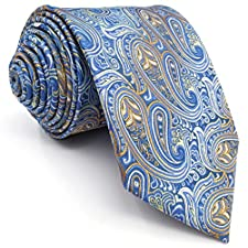Shlax&Wing Silk Neckties Ties Blue Paisley Wedding Extra Long Size