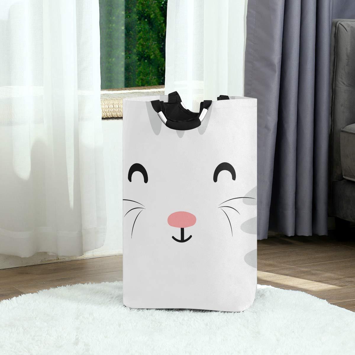 Unimagic Collapsible Laundry Basket Lovely Cat Face Laundry Hamper Large Cloth Hamper Laundry Organizer Holder with Handle