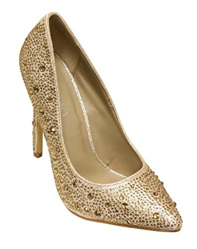 Belinda-96 Women's Pointy Toe Glitter Beads Rhinestones Slip On High Heel Pumps Shoes