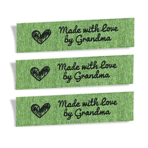 Wunderlabel Made with Love by Grandma Granny Granma Mix Thread Craft Art Fashion Woven Ribbon Ribbons Tag Clothing Sewing Sew Clothes Garment Fabric Material Embroidered, Black on Green, 25 Labels by Wunderlabel