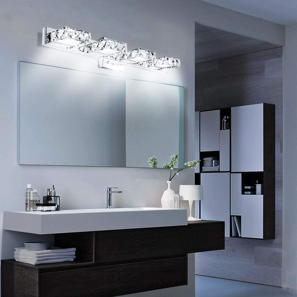 12W Lightess 4-Light 24.4 Bath Vanity Lights Crystal Bathroom Light Fixtures Led Wall Sconces Lighting Modern Mirror Front Lamp