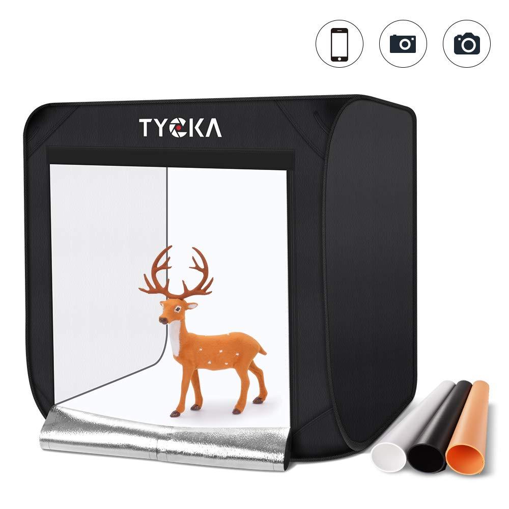 TYCKA Photo Studio Box,60X60X60CM/24X24X24 inches Foldable Photography Studio Light Tent with 5500K LED Lights,3 Backdrops (Black, White, Beige), US Plug