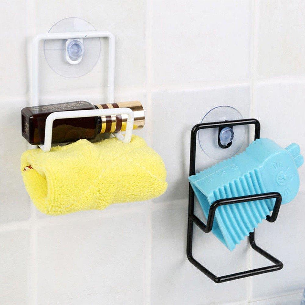 MSOO Kitchen Suction Cup Base Brush Sponge Sink Towel Rack Washing Holder (Black)