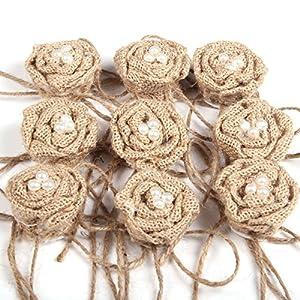 Tinksky Christmas Wedding Embellishments Burlap Pearl Rose Flower Hessian Jute Flower Rustic Vintage,Pack of 9 4
