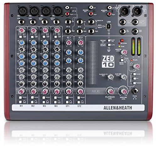 Allen and Heath ZED-10 4 Mono Mic/Line PA Mixer PA or Recording Mixer with Computer IO by Allen & Heath