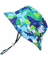 乳児用50+ UPF日焼予防帽子、サイズの調整可能。顎紐付き (M: 9ヶ月—3年, 撥水加工: 青の鮫)