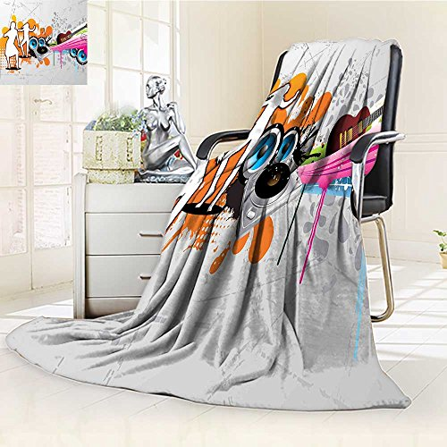 YOYI-HOME Super Soft Lightweight Duplex Printed Blanket with Turntable and Speakers Dancing Funky Urban Nights Guitar Print Multicolor Oversized Travel Throw Cover Blanket /W39.5 x - Turntable Technique Cover
