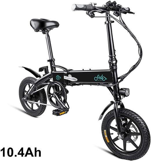 Liamostee - 1 Bicicleta eléctrica Plegable con Seguro Ajustable, portátil para Ciclismo, Color Negro, tamaño 10.4Ah: Amazon.es: Hogar