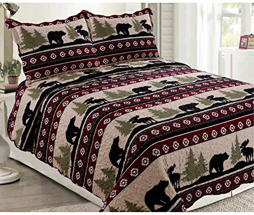 Elegant Home Native American Wildlife Bear and Moose Wilderness Cabin Lodge Life Beige Green Black Burgundy Rustic Western Design 3 Piece Coverlet Bedspread Quilt # 017 (Queen/Full Size)