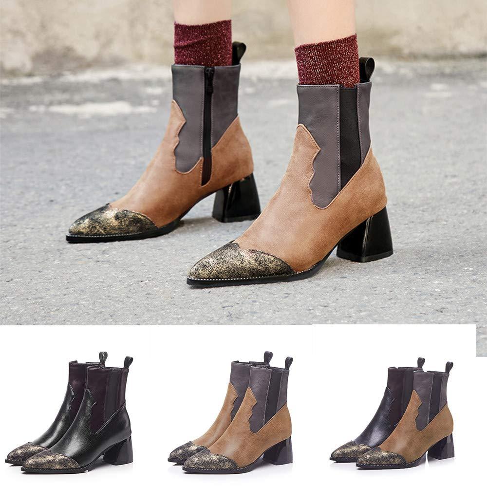 Damen Stiefeletten Chelsea Retro Spitzen Stiefel Chelsea Stiefeletten Schuhe Ankle Stiefel mit Blockabsatz, Schwarz, Grau 36-41… 0a01a2
