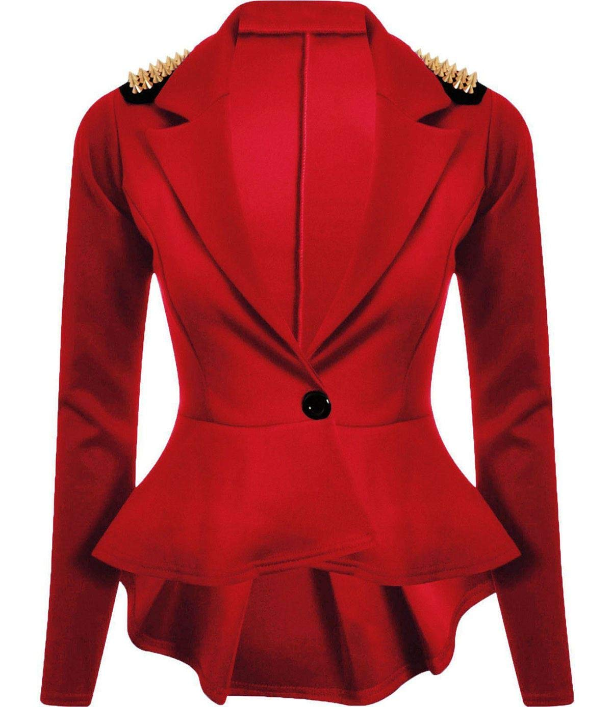 Ladies Gold Studded Shoulder Long Sleeve Spike Blazer Women Frill Peplum Tail Celebrity Style Jacket Red UK 22
