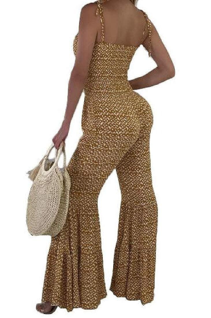 CMCYY Womens Bohemian Spaghetti Strap Casual Flared Pants Romper Jumpsuit