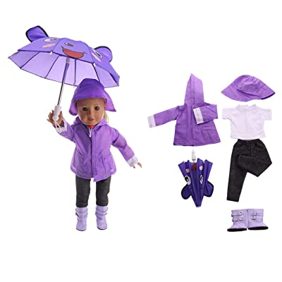 """FenglinTech 6PCS Raincoat Clothes Set with T-Shirt, Pants, Rain Boots, Hat and Umbrella for Rainy Day for 18"""" Girl Dolls - (Purple): Toys & Games"""