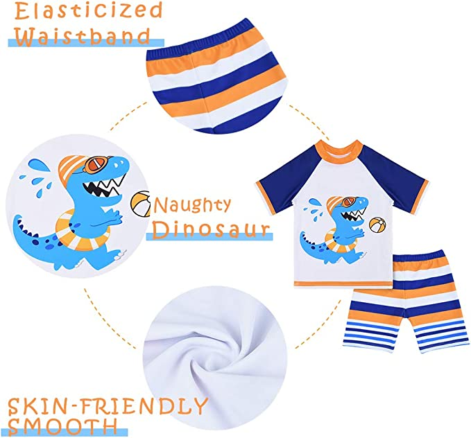 AMZTM Baby Toddler Boys 2-Pieces Dinosaur Swimsuit Trunk and Rashguard