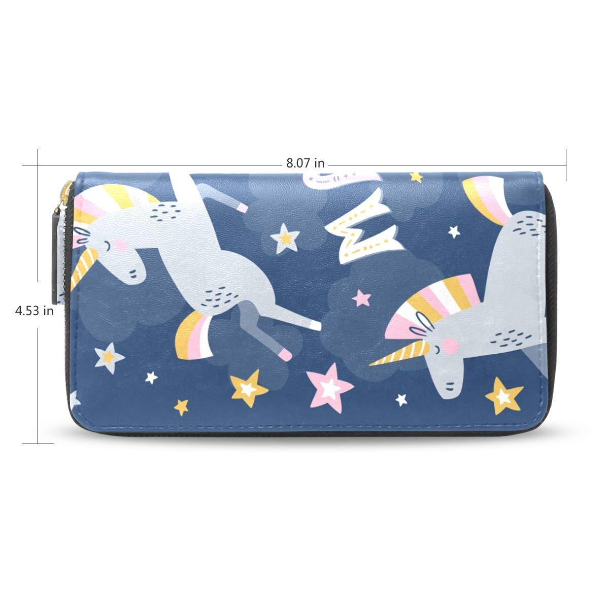 d192957e34ba Women Wallet Purse Clutch Bag Starry Night Magic Unicorn Zipper ...