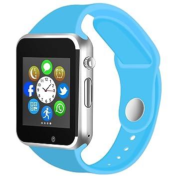Kivors Reloj Inteligente A1 Bluetooth Smartwatch con TF/Ranura de Tarjeta SIM para Usar como Teléfono Móvil, con Podómetro Inteligente, Sueño, ...